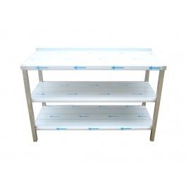Pracovný nerezový stôl s policou (2x police), rozmer (dx š): 1400 x 600 x 900 mm