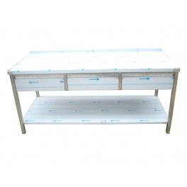 Pracovný nerezový stôl (3x šuplík, 1x polica), rozmer (dx š): 1600 x 600 x 900 mm