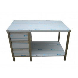 Pracovný nerezový stôl (zásuvková box, 1x polica), rozmer (dx š): 1700 x 600 x 900 mm