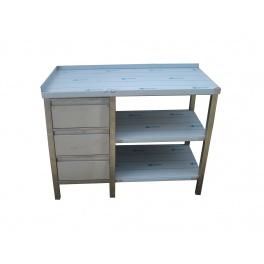 Pracovný nerezový stôl (zásuvková box, 2x police), rozmer (dx š): 1300 x 600 x 900 mm