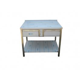 Pracovný nerezový stôl (2x šuplík, 1x polica), rozmer (dx š): 1200 x 700 x 900 mm