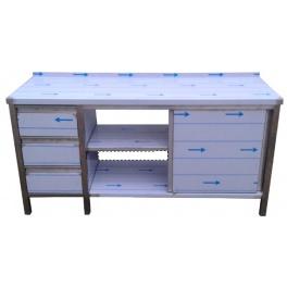 Pracovný nerezový stôl sa šuplíkovým boxom, posuvnými dvierkami a policami, rozmer 1600 x 600 x 900 mm