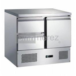 Chladiaci stôl Saladeta MS-901D2GR (1x dvere, 2x zásuvka / 900 mm)