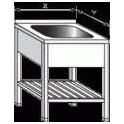 Stôl umývacie nerezový jednodřezový s roštom, rozmer vonkajšie: 600 x 600 x 900 mm, rozmer drezu: 500 x 400 x 250 mm