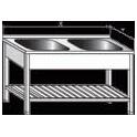 Stôl umývacie dvoudřezový lisovaný, vevařovaný s roštom, rozmer vonkajšie: 1200 x 700 x 900 mm, rozmer drezu: 500 x 500 x 300 mm