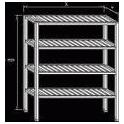 Regál nerezový - roštové police, rozmer (š xdxv): 500 x 1500 x 1800 mm