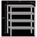 Regál nerezový - roštové police, rozmer (š xdxv): 600 x 1100 x 1800 mm